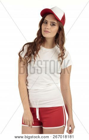 Retro Style Sporting Fitness Girl Off To The Gym In Her Plain White T-shirt With Space For Your Desi
