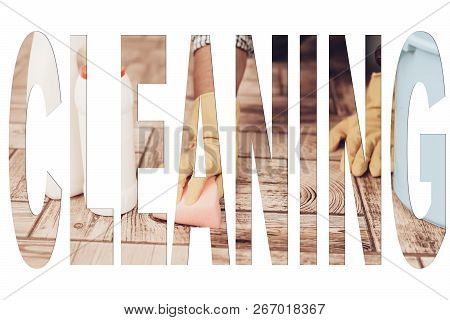 Male Cleaner. Man Washing The Floor In Room. Man Using A Brush. Man Washing With Water. Male Hands I