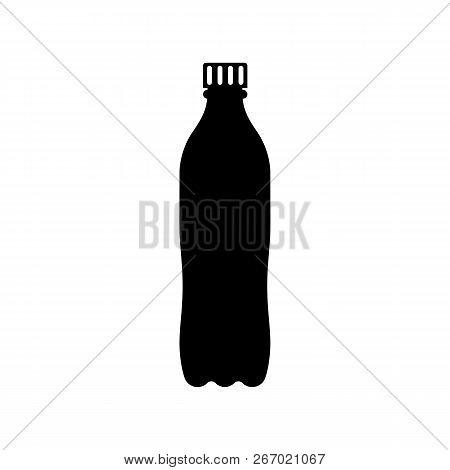 Plastic Bottle Black Icon Silhouette. Pictogram Cola In Plastic Tarre. Vector Illustration Flat Desi