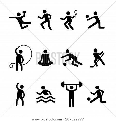 Sport Man Vector Flat Icons Set, Fitness Logo. Black Badges Football, Basketball, Volleyball, Tennis