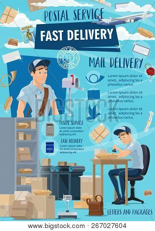 Post Mail Delivery, Postage Logistics. Vector Postman Or Mailman Working With Letter Envelopes And P