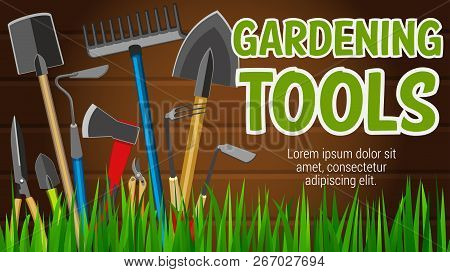 Gardening Tools Banner With Agriculture Equipment For Garden Market. Shovel And Rake, Spade And Scis