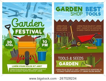 Gardening Tools And Equipment, Agriculture Or Horticulture. Vector Wheelbarrow With Soil And Spade,