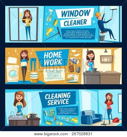 Laundry and cooking, house and window cleaning. Vector woman with domestic chores and chemical means cleaning rooms, dishes or glass. Washing machine, vacuum cleaner, iron and washing supplies poster