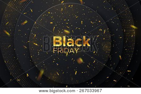 Black Friday Sale Poster. Commercial Discount Event Banner. Black Abstract Background With Geometric