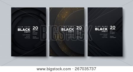 Electronic Music Festival. Modern Posters Design. Black Party Flyer. Abstract Background With Paper
