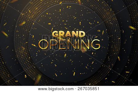 Grand Opening. Business Startup Ceremony. Vector Illustration. Marketing Event Label. Abstract Backg