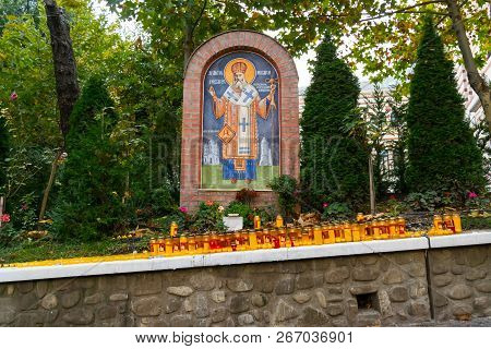 Bucharest, Romania - November 04, 2018: Candles Lit At Radu Voda Monastery Dedicated To Saint Nectar