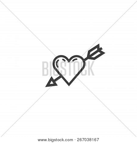 Colorless simple vector line art icon of a heart with an arrow in it poster