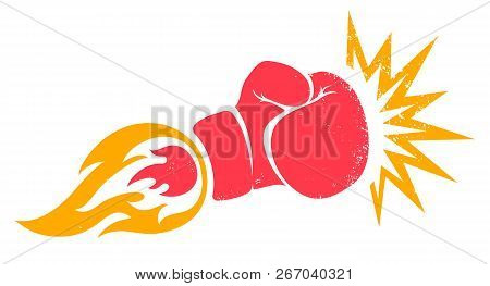 Vector Retro Poster For A Boxing With Glove. Retro Emblem For Boxing With Red  Glove With Flame