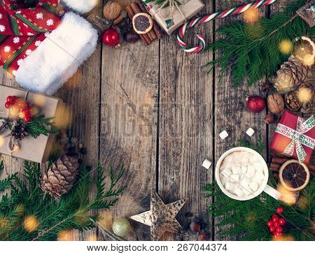 Christmas Design Christmas . Christmas Composition On Wooden Vintage Background, With Hot Drinks, Co