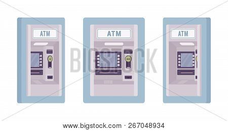 Atm Built In A Wall, Blue Color. Automated Teller Machine, Banking Service To Perform Safe Financial