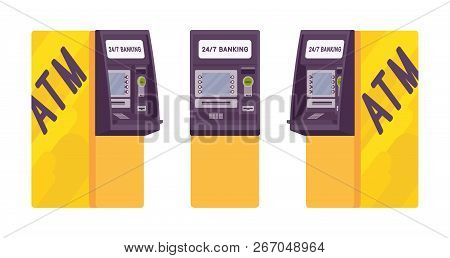 Automated Teller Machine In A Yellow Color. Free-standing Atm For Customers, Electronic Banking Outl