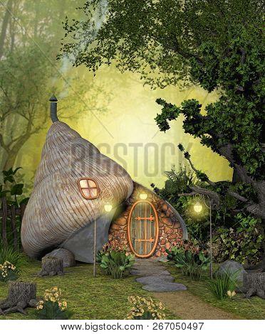 An Enchanting Magical Fairy Shell Home, Hidden In A Deep Forest, 3d Render Illustration