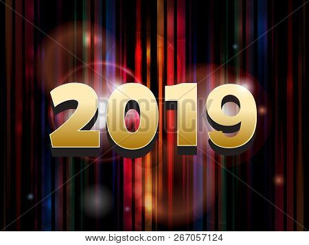 New Year 2019 Golden Date Over Striped Abstract Background