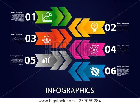Dark Vector Illustration 3D. Infographic Template With Six Elements, Arrows, Text And Icons. Timelin