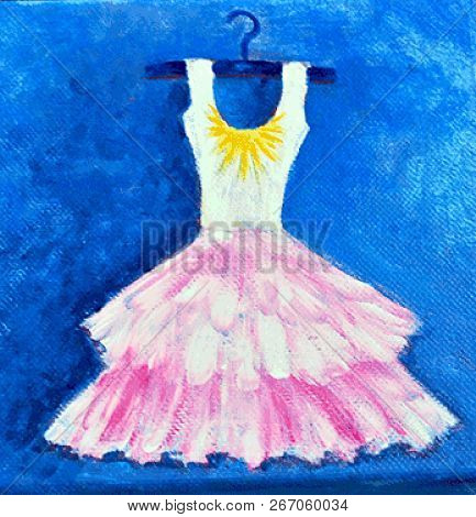 Acrylic Painting On Canvas Of Pink Skirted Dress On Hangar