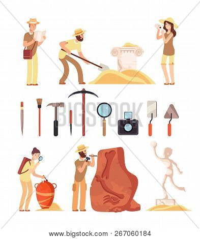 Archeology. Archeologist People, Paleontology Tools And Ancient History Artifacts. Vector Cartoon Is