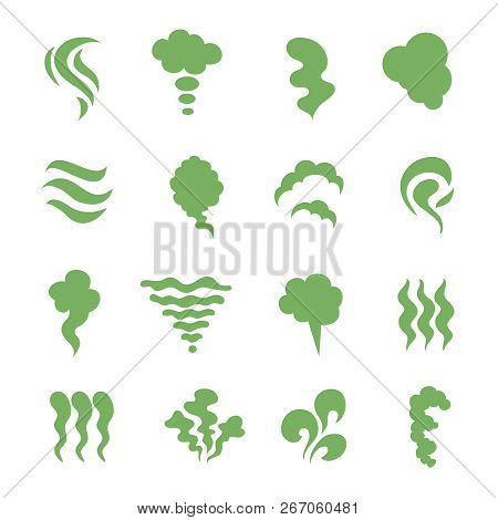 Smell Icons. Steaming Stench, Vapor And Cooking Steam. Green Expired Food Odor Isolated Symbols. Gre