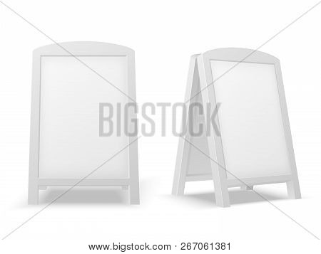 Sidewalk Display Board. Empty Blank White Advertising Stand. Sale Sign Or Street Banner. 3d Vector I