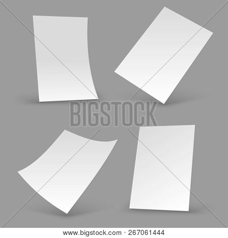 White Paper Sheets. A4 Blank Brochure, Realistic Poster Mockups. 3d Flyer Vector Templates. Illustra