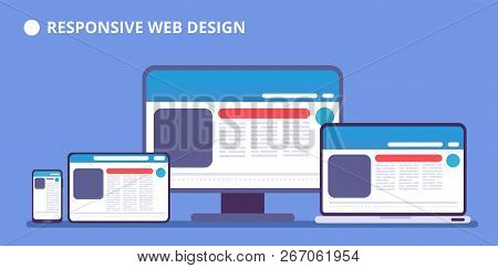 Responsive Website. Webpage On Different Devices. Tablet And Phone, Laptop And Computer Display With