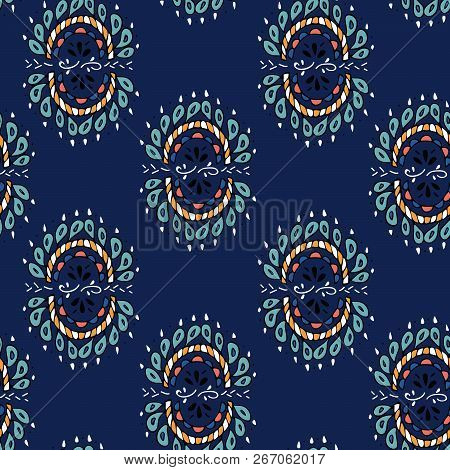 Vector Seamless Texture With Ethnic Or Psychedelic Symbols, Doodle Vector Illustration. Endless Back