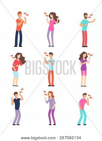 Laughing People. Adults And Teenagers In Hysterical Loud Laughter. Cartoon Vector Isolated Character
