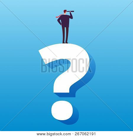 Businessman And Question Mark. Future Decision, Strategy Choice And Business Challenge Vector Concep
