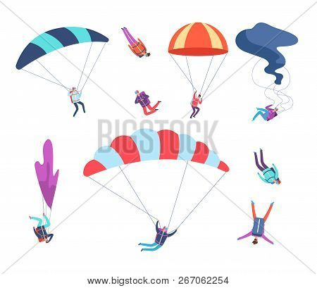 Skydivers Set. People Jumping With Parachutes. Dangerous Sports Sky Jumpers, Parachutists Cartoon Ve