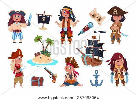 Pirate Characters. Cartoon Kids Pirates, Sailors And Captain Vector Isolated Set. Captain And Sailor