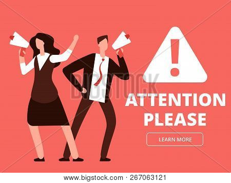 Attention Vector Banner Or Web Page Template With Cartoon Man And Woman With Megaphones. Illustratio