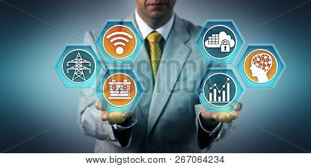 Utility Executive Managing Electric Grid Backup Power Via A Secure Internet Connection. Industry And