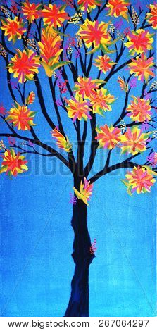 Acrylic Painting On Canvas Of Flowered Tree On Blue Background