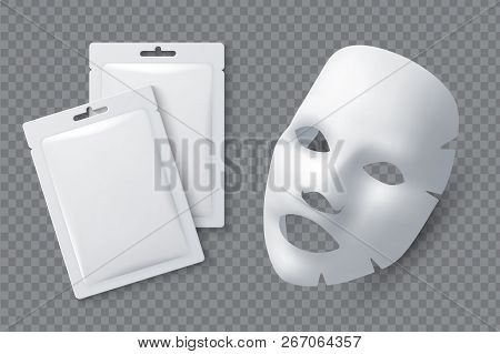 Facial Cosmetic Mask. Moisturising Cotton Sheet For Woman Beauty. White Face Cleansing Mask And Pack