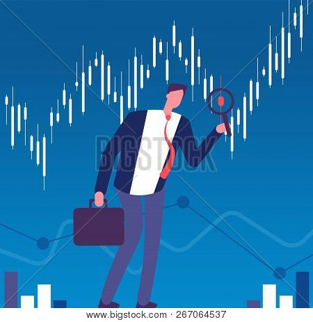Investor Concept. Businessman With Magnifying Glass Looking For Investment Opportunity. Successful I