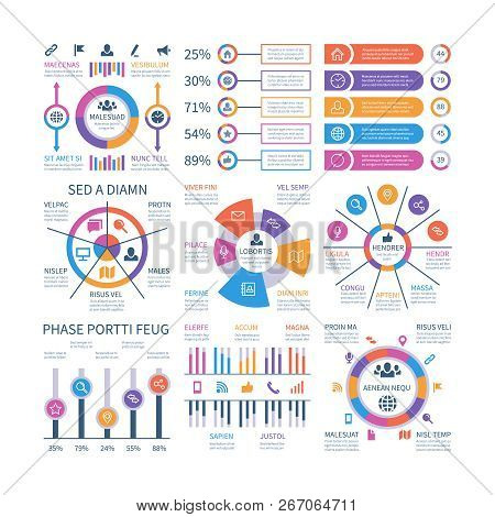 Financial Infographic. Business Bar Graph And Flow Chart, Economic Diagram Circle Charts With Icons.