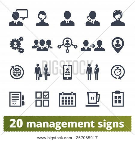 Management, Human Resources, Team Work Vector Icons Set. Business Strategy, Project Developing, Ceo
