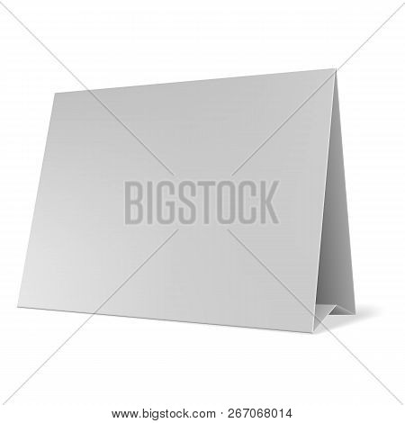 Blank Paper Table Cards Vector. Blank Table Tent Isolated On Grey Background. Blank White Folded Pap
