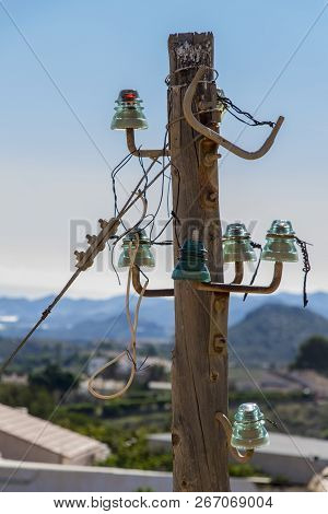 Old Power Lines On A Wooden Pole, Power Line Column, Abandoned Pole, Vintage Wooden Pole