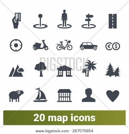 Map, Traveling, Transportation, Vacation And Recreation Vector Icons Set. Location, Navigation, Plac