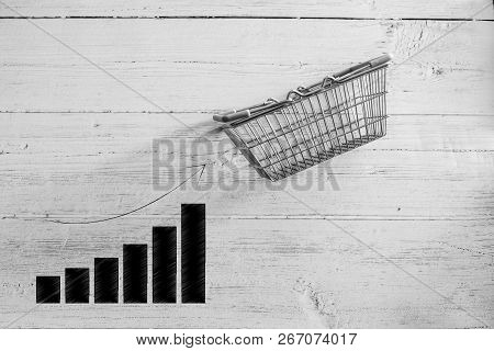 Empty Shopping Basket With Bar Chart Stats Going Up,concept Of Positive Market Trends