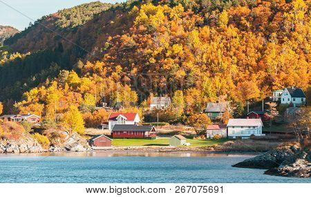 Coastal Landscape Of Hasselvika Village At Autumn Day, Norway