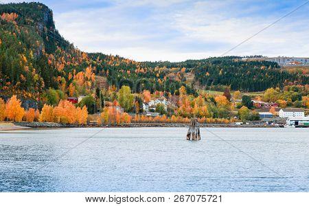 Hommelvik, Coastal Village. Rural Norwegian Landscape At Autumn Day