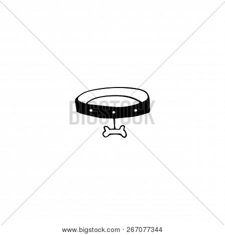 Vector Hand Drawn Icon, Collar With Bone. Logo Element For Pets Related Business. Illustration For P