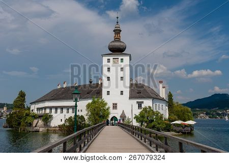 Gmunden, Austria, - August 03, 2018: Gmunden Schloss Ort Or Schloss Orth In The Traunsee Lake In Gmu