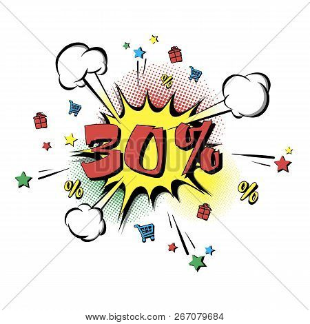Discount 30 Percent Comic Style On Background With Bubbles. Comic Bang With Thirty Percent. Pop Art