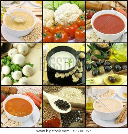 Collection of vegetarian soups