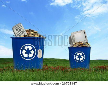 Computer parts trash in recycle bin