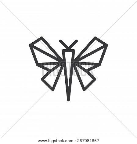 Butterfly Origami Vector Icon On White Background. Butterfly Origami Icon In Modern Design Style. Bu